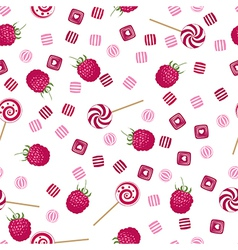 Raspberry lollipops candy and chewing gum pattern vector image