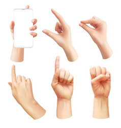 Realistic hands different human hand showing vector