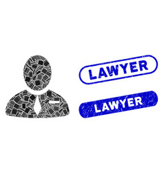 Rectangle mosaic lawyer with scratched lawyer vector