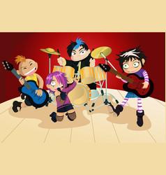 Rock band four little kids vector
