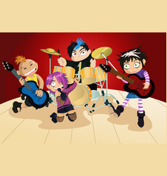 Rock band of four little kids vector