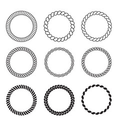 round rope frames cable circle shapes strength vector image