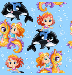seamless pattern cute mermaids riding on an orca vector image
