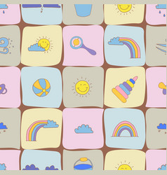 Seamless pattern with different baby toys tissue vector