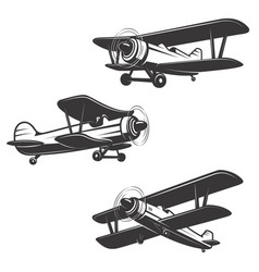 set airplane icons isolated on white background vector image