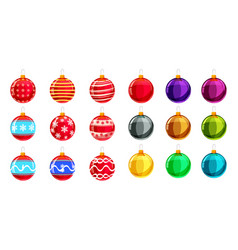 set christmas balls different colours set of vector image