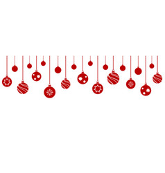 set christmas balls hanging on white background vector image
