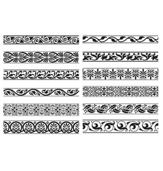set decorative floral seamless ornamental vector image