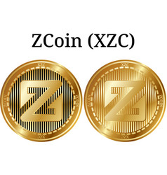 Set of physical golden coin zcoin xzc vector