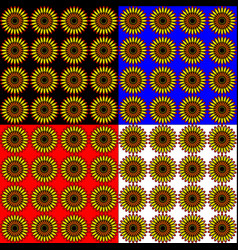 Set of sunflowers in different colored backgrounds vector