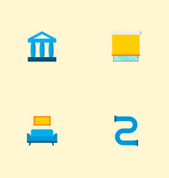 set of urban icons flat style symbols with court vector image