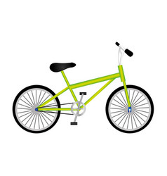 Silhouette of sport green bike in white background vector