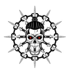 Skull and knife vector
