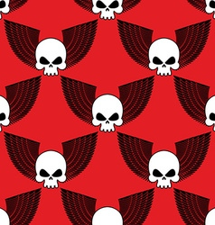 Skull with wings seamless pattern background of vector