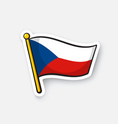 sticker flag czech republic on flagstaff vector image