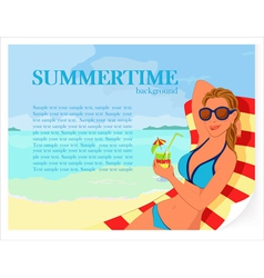 Summer background with girl and cocktail vector image