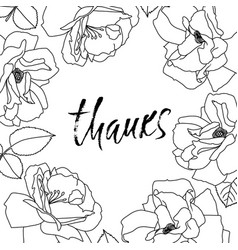Thanks handwritten inscription hand drawn modern vector