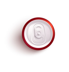Top view of red aluminum can mockup for alcohol or vector