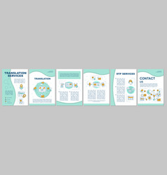 Translation services brochure template layout vector