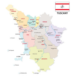 tuscany administrative and political map with flag vector image