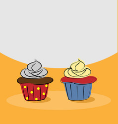 two hand drawn cupcake vector image