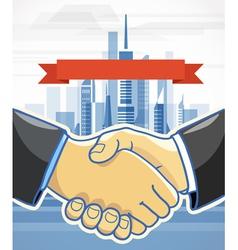 Two men shake hands Presentation template vector