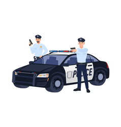 two policemen or cops in uniform standing near car vector image
