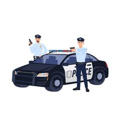 Two policemen or cops in uniform standing near car vector