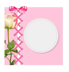 Vintage Frame with Bow Ribbon and Rose Folwer vector