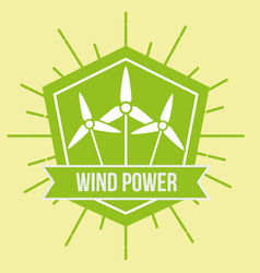 wind power turbine renewable alternative emblem vector image