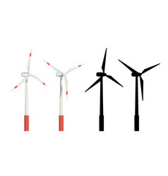 Wind turbines set vector