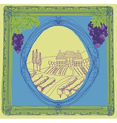 wine label - hand drawn vineyard vector image