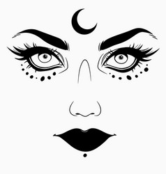 Woman face with esoteric makeup vector