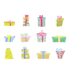 cartoon gifts box vector image vector image