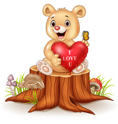 Cute bear holding red heart balloons on tree stump vector