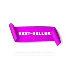 Lilac curved paper ribbon banner with rolls vector image vector image