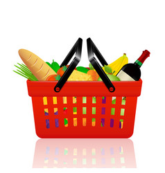 red shopping basket with groceries vector image