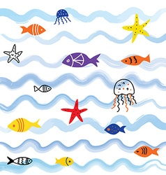 Sea and fish background with cute design vector image