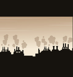 silhouette of pollution industry bad environment vector image vector image