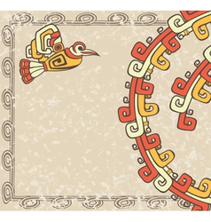 Aztec style bird and pattern on dirty backgroun vector image