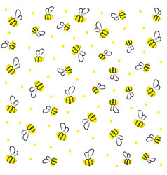 doodle cartoon bee yellow and black baby vector image