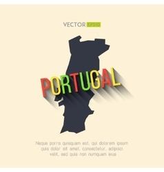 portugal map in flat design Portuguese vector image