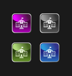 School building icon on square colored buttons vector