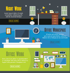 set of three horizontal office workspace banners vector image vector image