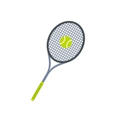 Tennis racquet and ball flat icon vector image