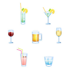 alcoholic drinks and non alcoholic drinks with vector image vector image
