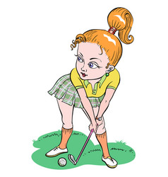 cartoon image of woman playing golf vector image