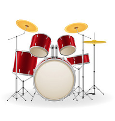 Drum set kit musical instruments stock vector