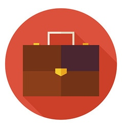 Flat Office Business Briefcase Circle Icon with vector image vector image