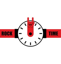 Rock time Watch as arrow rock hand sign Wrist vector image
